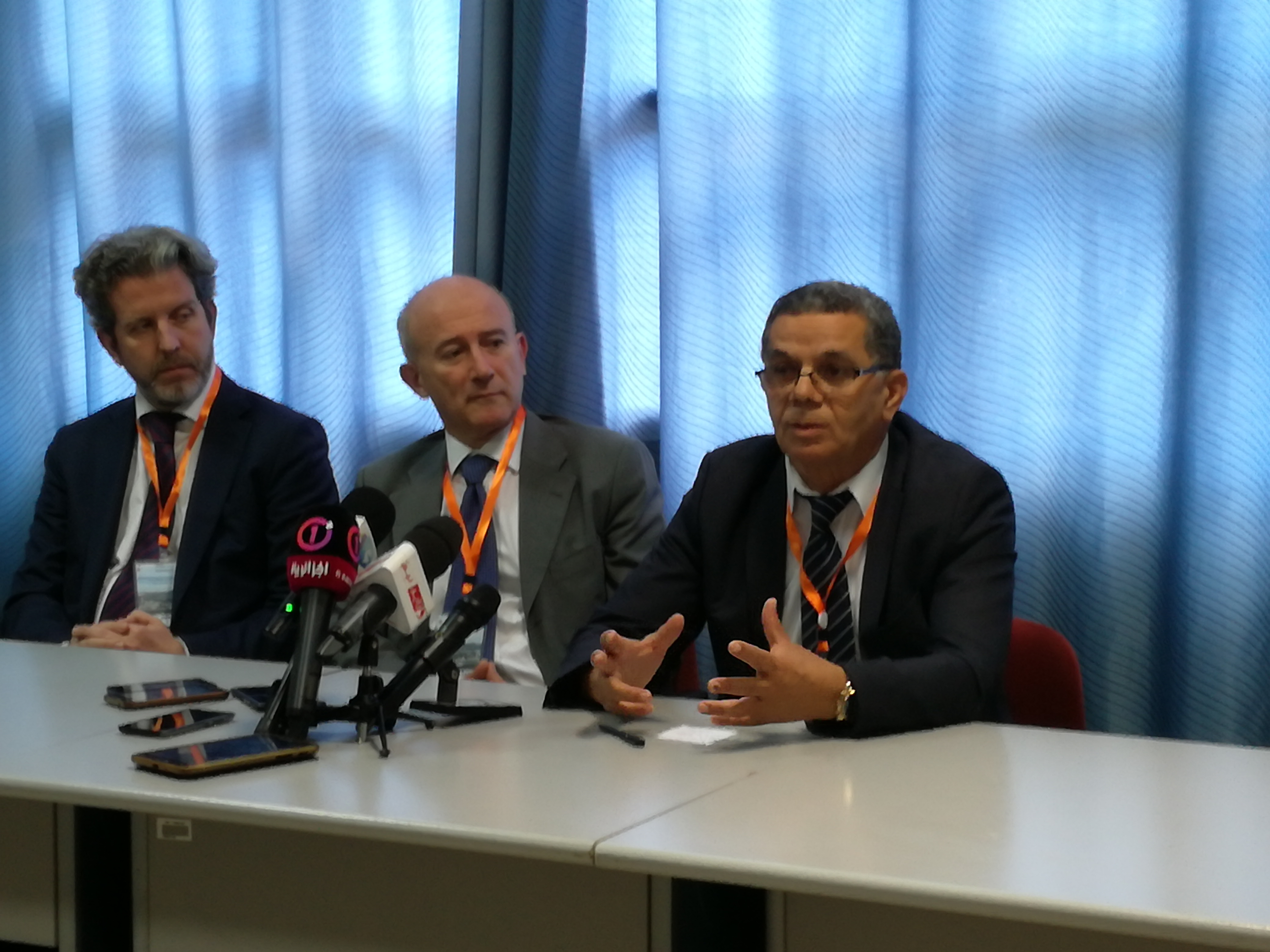 Press Conference - Rabah Touileb addressing the journalists