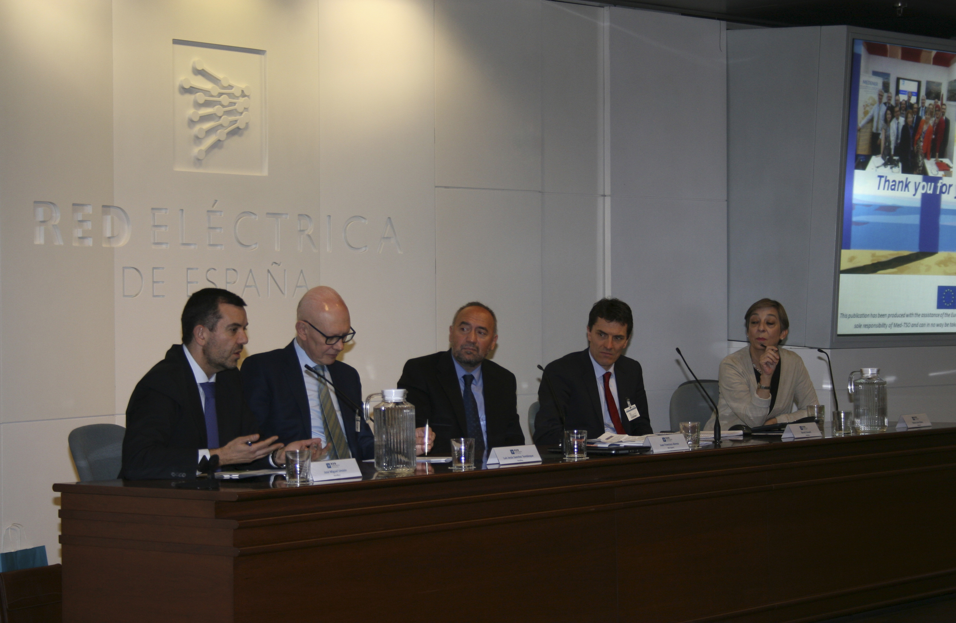 Second session: (from left to right) José Miguel Unsion (MedReg), Luis Jesús Sanchez de Tembleque (MedReg), Juan Francisco Alonso (REE), Benoit Esnault (MedReg) and Maria Luisa Olano (Medener)